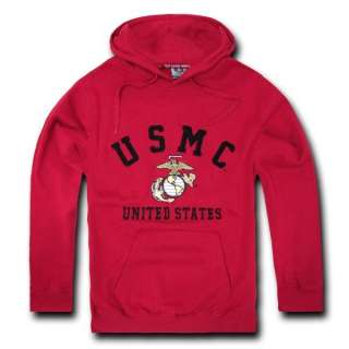 CARDINAL USMC UNITED STATES MARINES CORPS MILITARY FLEECE PULLOVER