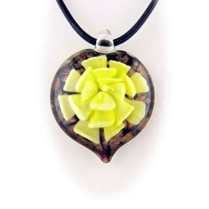 Murano Glass Yellow Flower Heart Pendant Rubber Cord Necklace Sterling