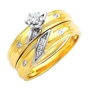 14K Yellow and White 2 Two Tone Gold Womens Round cut
