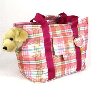 Pink Plaid Dog Puppy Cat Pet Travel Carrier Bag Tote