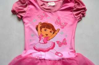 Girls Dora Leotard Ballet Tutu Costume Dance Skirt Dress 3 8Y Fairy