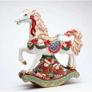 com Rocking Horse With Wreaths/Red Ribbon Atop Teddy Bear Base Music