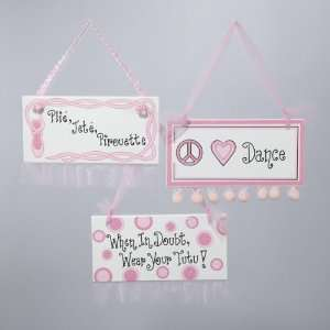 Club Pack of 12 Wooden Ballerina Ballet Dancer Pink Plaque