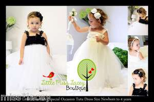 Baby Girl Lace Tutu Dress Flowergirl, Wedding, Sz 0000 4yr Little Miss