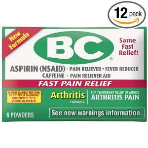 BC Powders Arthritis Strength Powder, 6 Count (Pack of 12