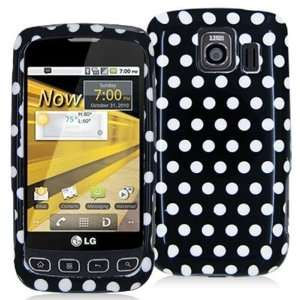 LG OPTIMUS S LS670 BLACK / WHITE POLKA DOT CASE Cell