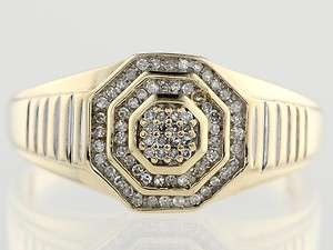 CTW Diamond Pyramid 1980s Mens 10K Yellow Gold Gents Pinky Ring