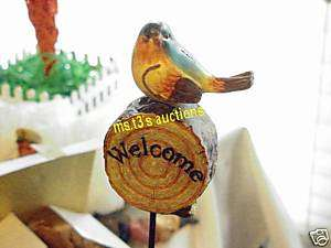 BLUE BIRD ON WELCOME LOG, YARD STAKE NEW garden statue