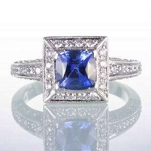 WHITE GOLD SAPPHIRE DIAMOND ENGAGEMENT SOLITAIRE RING