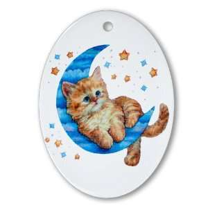 Ornament (Oval) Moon Kitten with Stars