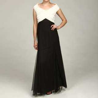 KM Collections Womens Black/ Ivory Pleated Weave Gown
