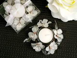 50 WEDDING FAVORS BRIDAL SHOWER FAVORS TABLE DECOR WHITE FLOWER CANDLE