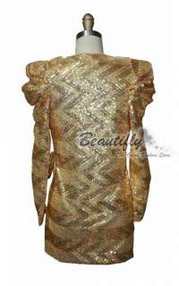Sexy V neck Golden Sequins Cocktail Women Short Dress