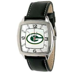 Green Bay Packers Mens Retro Style Watch Leather Band