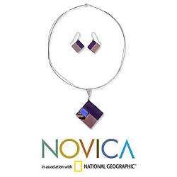 Purple Dream Dichroic Art Glass Jewelry Set (Mexico)