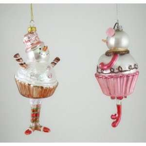Cupcake Snowman and Snow Woman Christmas Holiday Tree Ornaments Set of