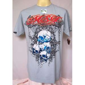 CLEARANCE SALE CHEAP Rock MMA Biker Hard Death Punk Skull Foil T Shirt