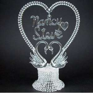 Personalized Glass Swans Blown Glass Wedding Cake Topper