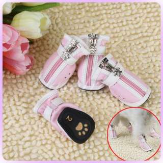 SMALL chihuahua PINK Leather Pet Dog Cozy BOOTS SHOES