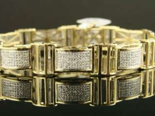 10K NEW MENS YELLOW GOLD PAVE DIAMOND BRACELET 3.0 CT