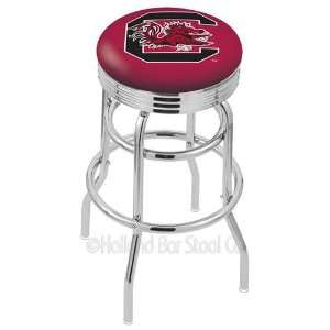 South Carolina Gamecocks Logo Chrome Double Ring Swivel Bar Stool with