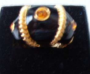 NEW JOAN RIVERS CITRINE BLACK ENAMEL ETRUSCAN RING 11