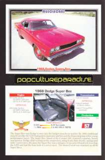 1968 DODGE SUPER BEE Muscle Car Picture SPEC FACT CARD