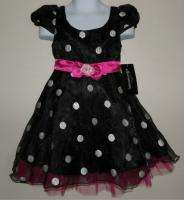 ELLEMENNO Toddler Girls Black Pink White Polka Dot Party Dress Size 4T