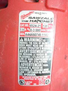 Milwaukee Heavy Duty Sawzall The Hatchet 6524 21 Reciprocating Saw