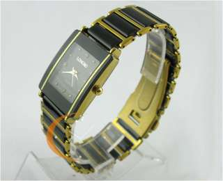 NEW Ceramic Mens Wrist watch black Gold square Gents