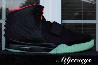 Nike Air Yeezy 2 II Black Solar Red Wolf Grey Platinum Kanye West Sz 7