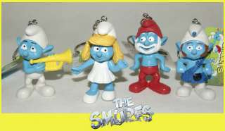 The Smurfs key chain figure HARMONY BRAINY GUTSY SMURFETTE smurf DL06a