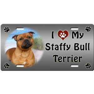 Love My Staffordshire Bull Terrier License Plate