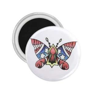Tattoo Butterfly USA Art Fridge Souvenir Magnet 2.25 Free
