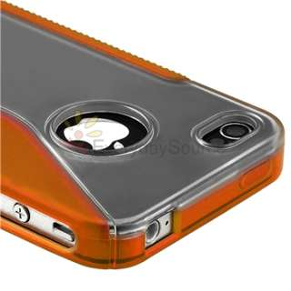 7x For iPhone 4 G 4S S Shape TPU Rubber Soft Case Cover Red+Orange