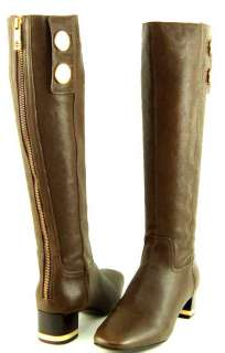 TORY BURCH RAMSEY Brown Leather Gold Buttons Womens Shoes Knee High