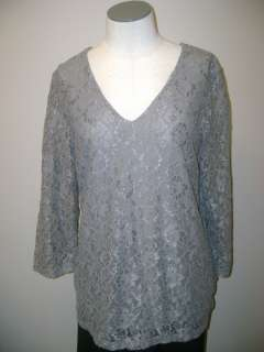 Motto 3/4 Sleeve V neck Stretch Lace Knit Top L NWOT