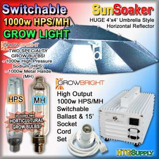 1000 watt HPS & MH GROW LIGHT SYSTEM SUNSOAKER HOOD 4x4