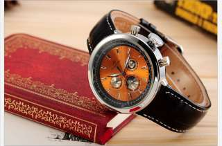 KS Automatic Mechanical 6 Hands Sun Moonphase Date Day Mens Leather