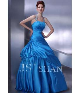 JSSHAN Blue Formal Prom Quinceanera Gown Elegent Ball Long Halter