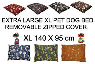 Extra Large XL Pet Dog Bed Cushion Zipped COVER 140 x 95cm Removable