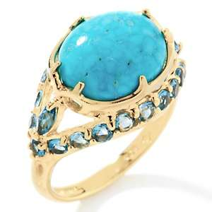 Brodie Crown Spring Turquoise and Blue Topaz Vermeil Ring