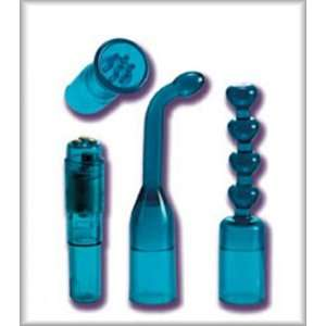 Blue Waterproof Mini Massager Travel Kit With 3 Interchangeable