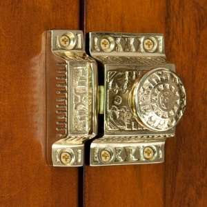 Solid Brass Cabinet Latch with Windsor Knob   Polished & Lacquered