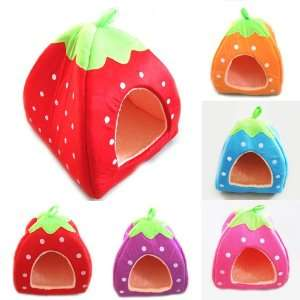 Soft Strawberry Pet Dog Cat Bed House