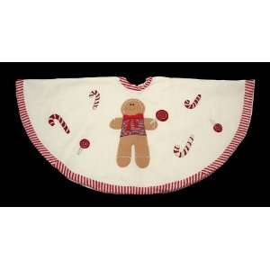 Plush Red & Ivory Gingerbread Man Christmas Tree Skirt