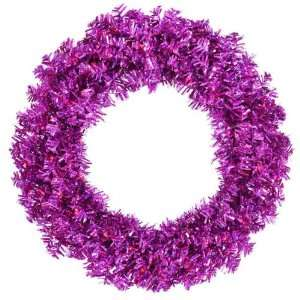 Cut Tinsel Artificial Christmas Wreath   Purple Lights