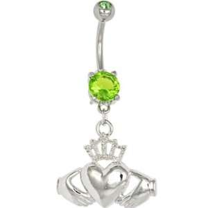 Peridot Green Gem Irish Claddagh Belly Ring Jewelry