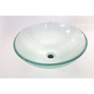 Clear Round Crack Style Glass Vessel Sink Bowl