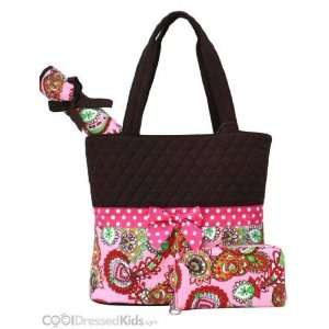 Quilted Brown & Pink Paisley Diaper Tote Bag Baby